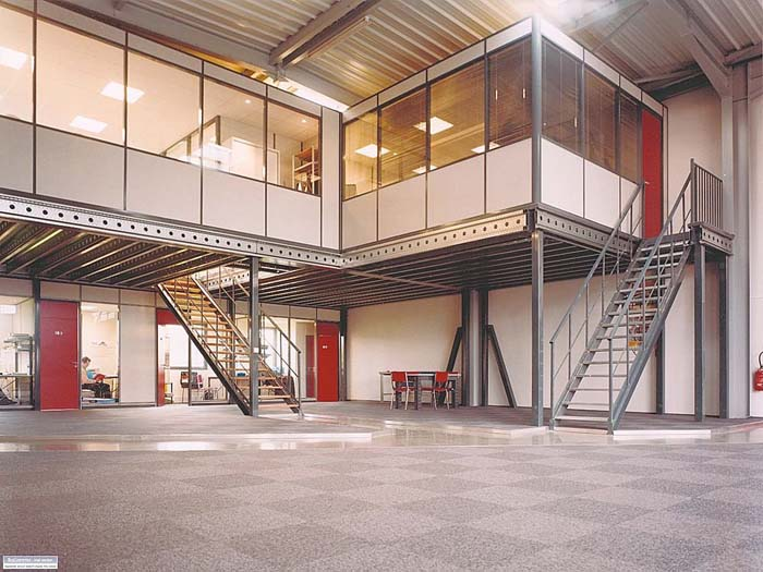 Warehouse floor plans including offices mezzanines and for Steel mezzanine design