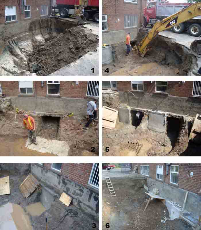 Concrete underpinning foundation methods of underpinning for Basement construction methods